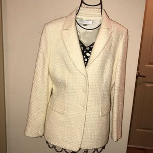 Tahari tweed cream 3 button fully lined blazer